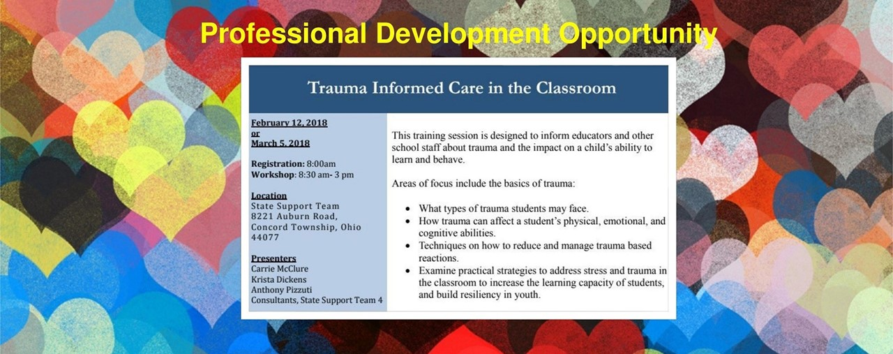 Trauma Informed Care Professional Development Opportunity. February 12 or March 5. Register on STARS