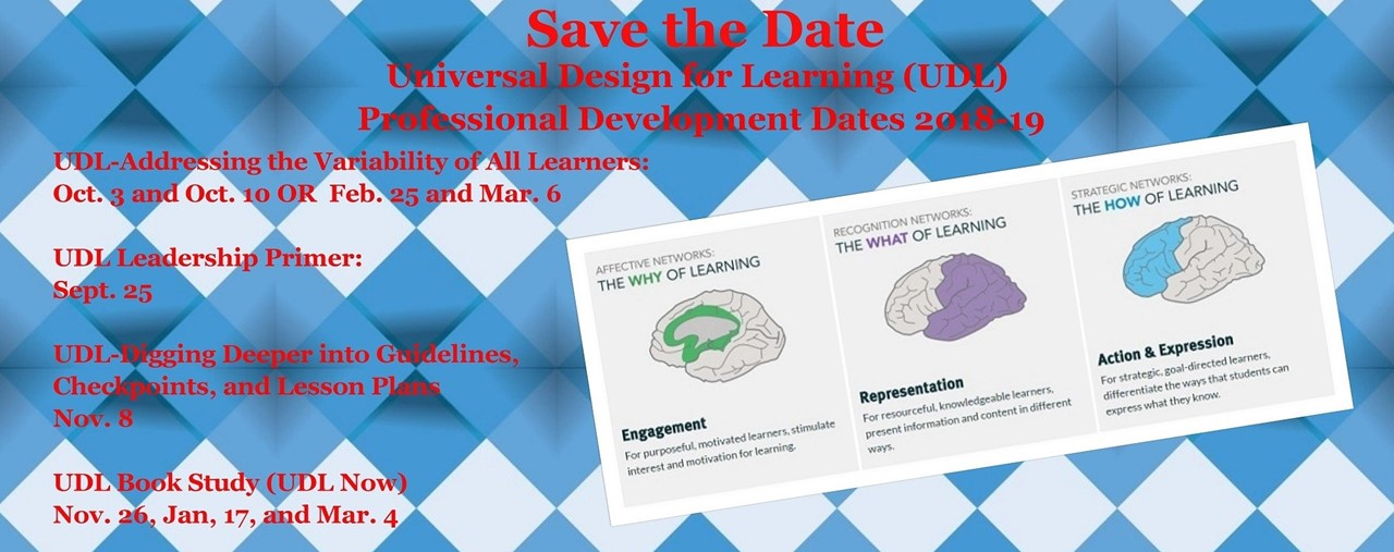 Save the date for UDL PD 2018-19. Blue/white argyle background.