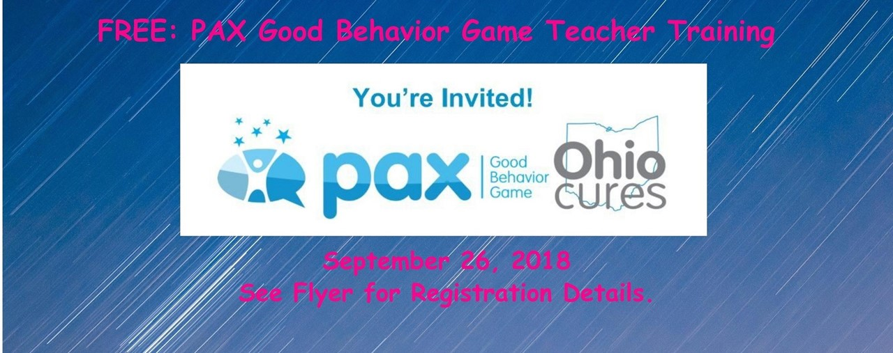 Blue background. You are invited to PAX Good Behavior Game Training for Teachers. September 26, 2018. See flyer for additional details.