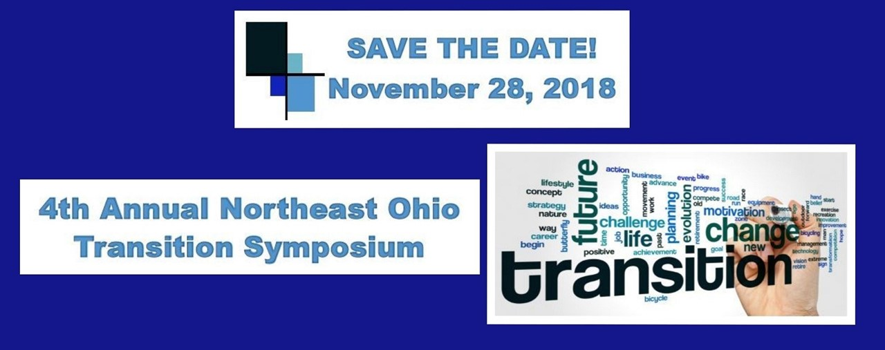 Save the date- November 28, 2018. 4th Annual Northeast Ohio Transition Symposium. Blue background.
