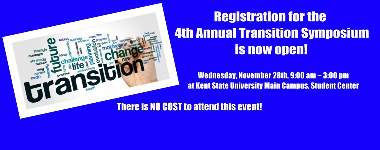 Blue background. Registration for the 4th Annual Transition Symposium is now open.
