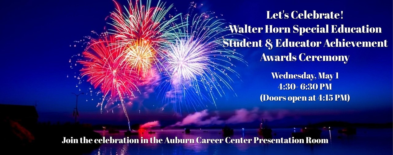 Walter Horn Awards Ceremony to be held May 1, 4;30-6:30 pm.