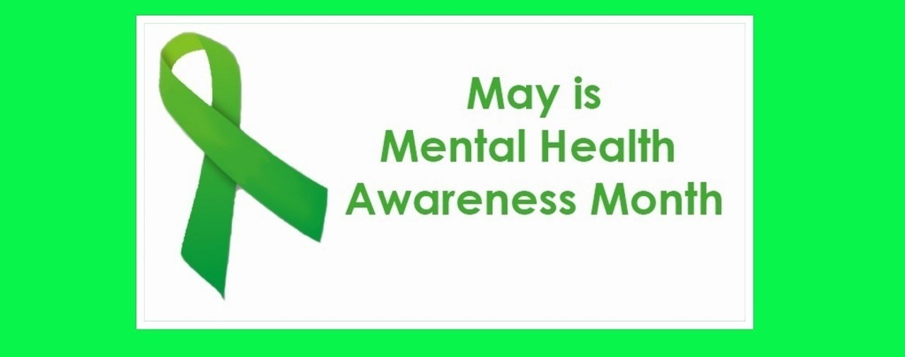 May is Mental Health Awareness Month. Green ribbon on white background.