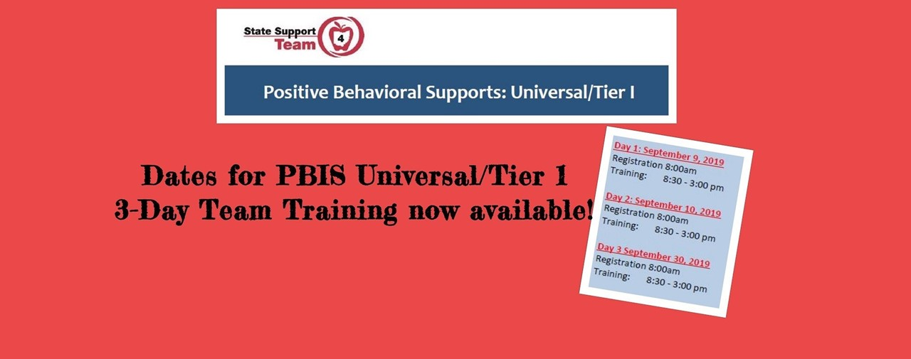 Dates for PBIS Universal/Tier 1 3-Day Training now available!