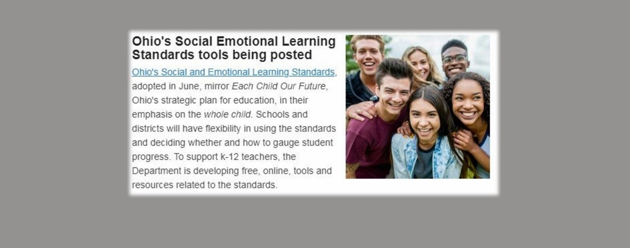 Ohio's Social Emotional Learning Standards tools being posted.