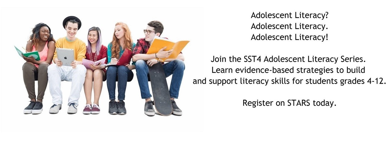 Adolescent Literacy. Join the Adolescent Literacy Series. Register today. Teens reading books.