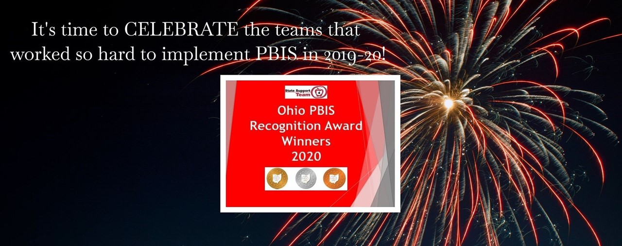 It's time to celebrate the teams that worked so hard to implement PBIS In 2019-20! Fireworks on dark night sky.