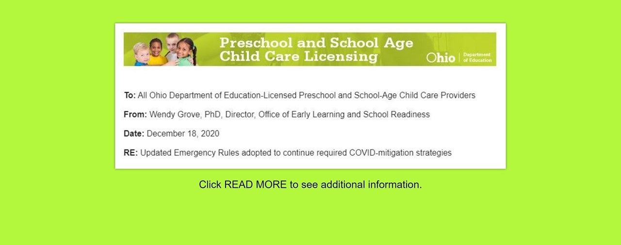 Preschool and School Ages Child Care Licensing. Updated Emergency Rules adopted to continue required COVID-mitigation strategies.
