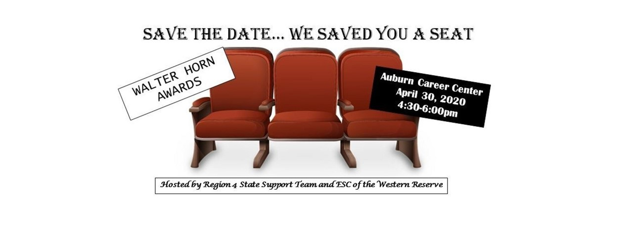 3 theater seats, side by side. Save the date...we saved you a seat. Walter Horn Awards. Auburn Career Center April 30, 2020 4:30-6:00 PM