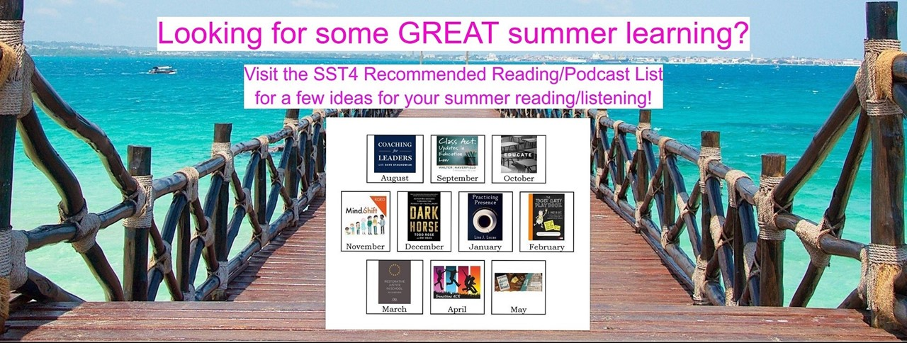 Boardwalk leading out to the ocean. Looking for some great summer learning? Visit the SST4 Recommended Reading/Podcast List for a few ideas for your summer reading/listening!