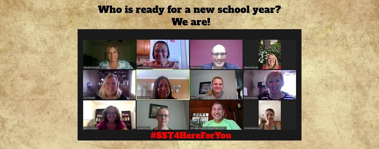 Who is ready for a new school year? We are! #SST4HereForYou. Picture of SST4 staff