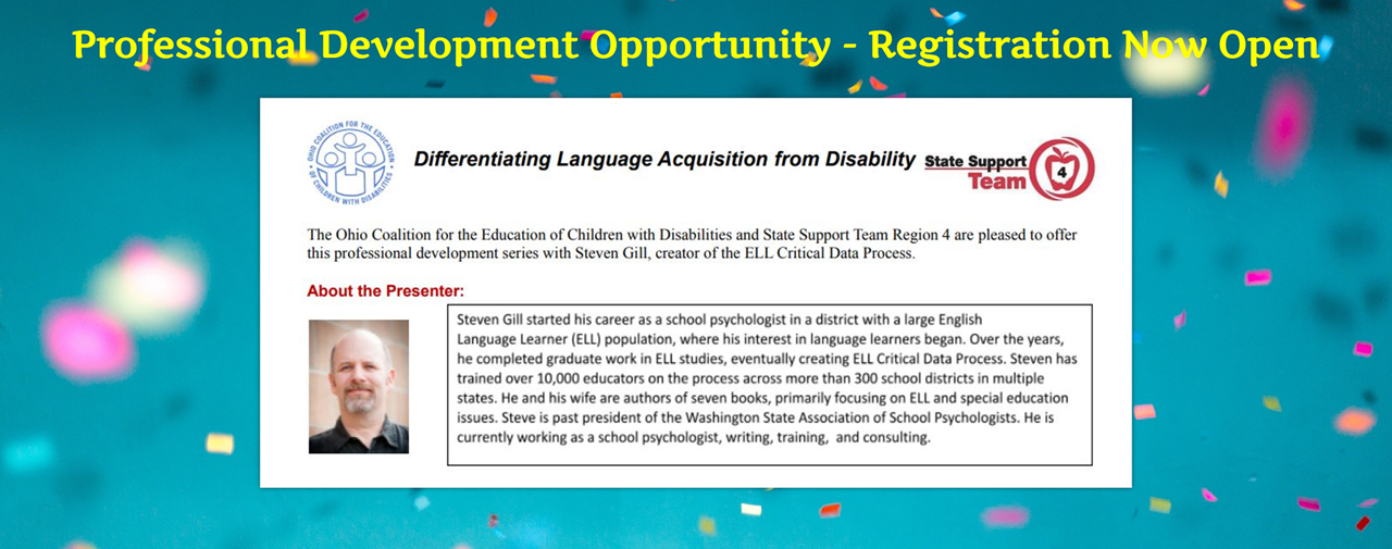 Confetti on blue background. Professional Development Opportunity - Registration Now Open. Differentiating Language Acquisition from Disability.