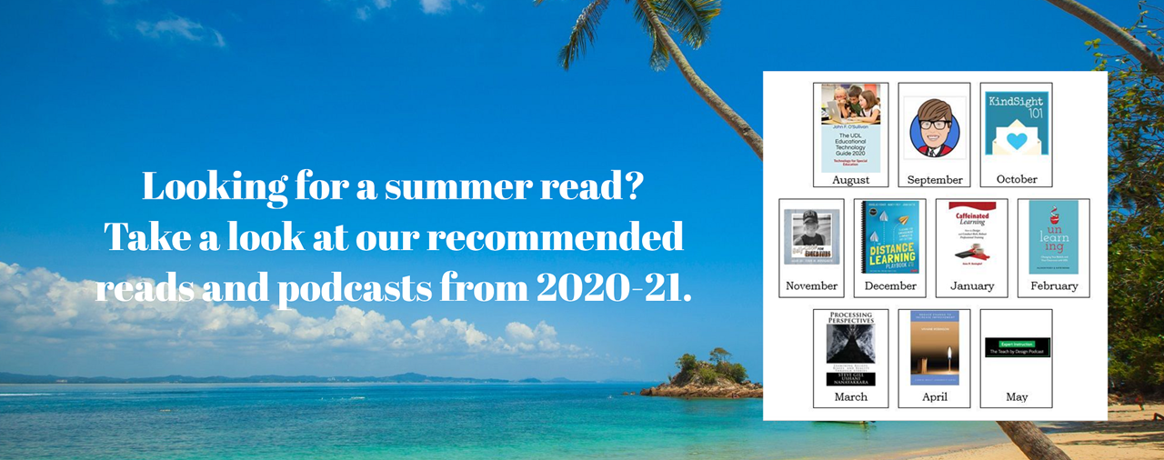 Looking for a summer read? Take a look at out recommended reads and podcasts from 2020-21. Beach picture, sand, palm trees, ocean.