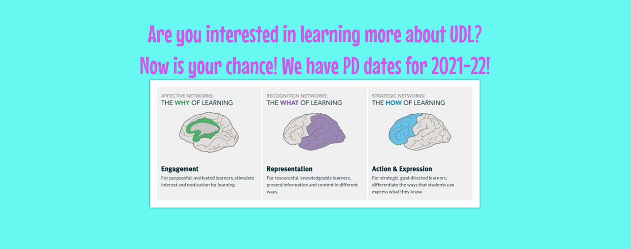 Are you interested in learning more about UDL? Now is your chance. We have PD dates for 2021-22!