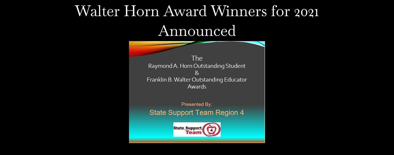 Walter Horn Award Winners for 2021 Announced.
